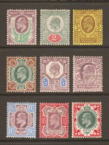 1906 Edward VII DLR Chalky Paper Stamp Set of 9 Mounted Mint